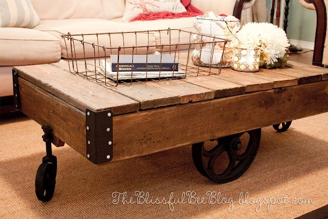 Factory Cart Table DIY { Restoration Hardware Inspired }. Tutorial included!