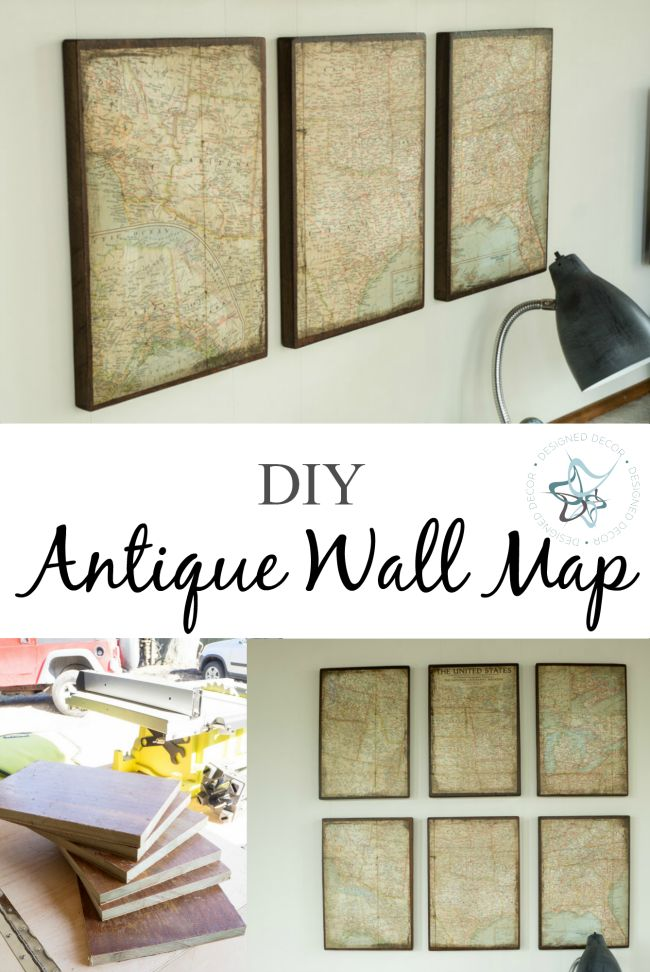DIY Antique Wall Map- Learn how to custom make an aged wall map to fill your empty wall space. Designed Decor