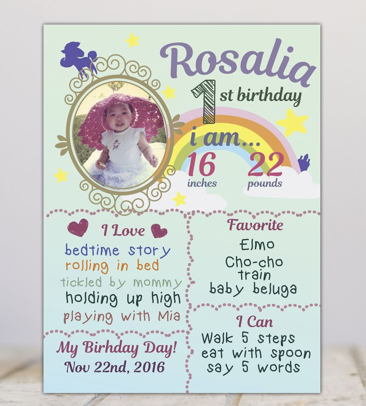 Rainbow photo chalkboard,  FIrst year milestone board, baby chalkboard, rainbow milestone poster, unicorn, star, Photo first birthday poster by miHappyDay on Etsy