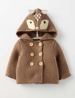 Mouse Marl Deer Girls Knitted Jacket Boden