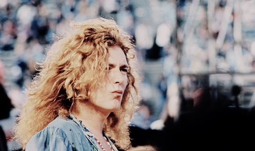 Robert Plant on stage at Kezar Stadium in San Francisco, 1973.