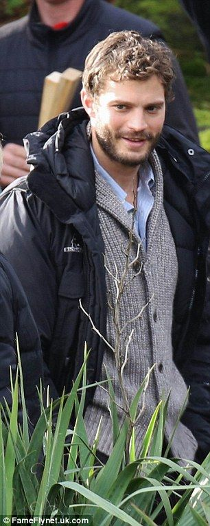 Scruffy: Jamie didn't look quite as polished as Christian Grey in these scenes for the new movie