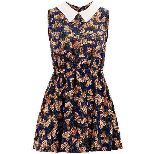 Madam Rage Blue Vintage Floral Shirt Dress (£26) found on Polyvore