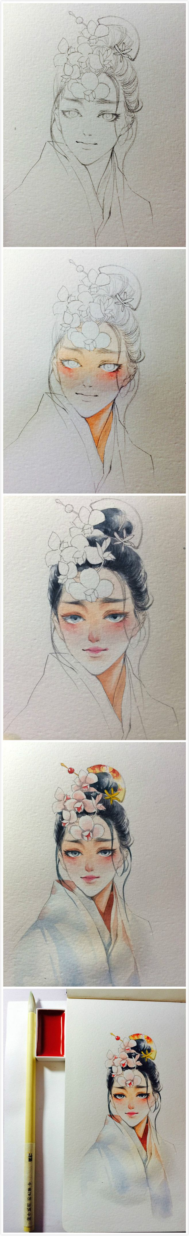 Outstanding pictorial (Foreign) on portrait water coloring....nice related pins.