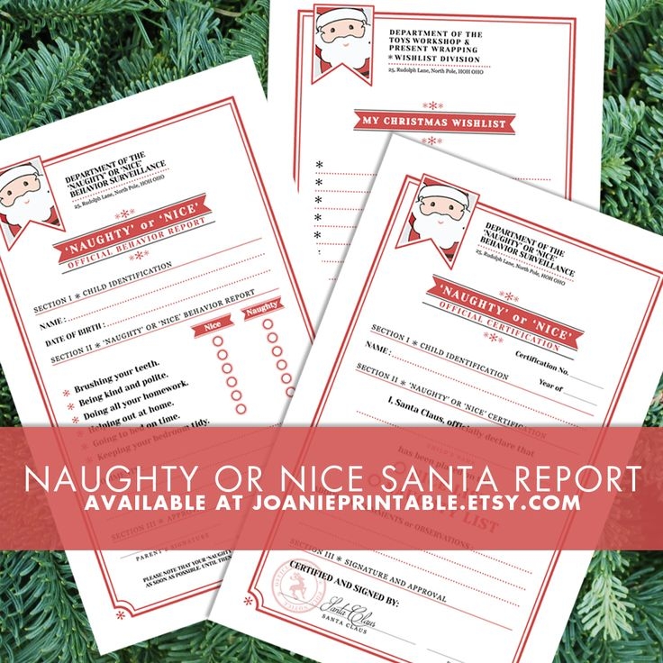 """You can print the report card and fill it with your kids! You even get a """"Department of Naughty or Nice Behavior Surveillance"""" label to glue on an envelope and """"send it to Santa Claus"""" directy to his workshop! Your kids might want to send their Christmas Wishlist at the same time, don't worry, you will get one too! And you will be able to send it to the right department with your matching """"Department of the Toys Workshop and Present Wrapping - Wishlist Divsion"""" :-)"""