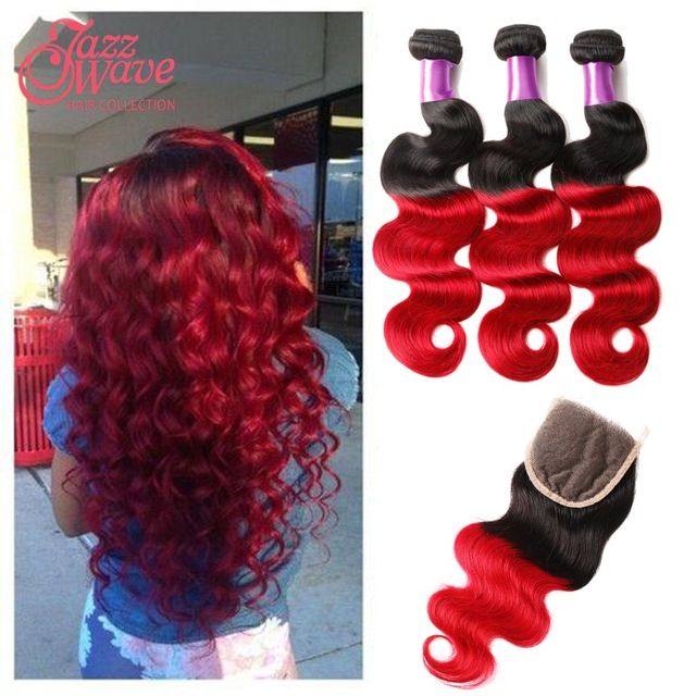 Rosa Hair Products 4 bundles Virgin Hair Weave Ombre Red Human Hair Extension Red Body Wave with Lace Closure 3 bundle deals