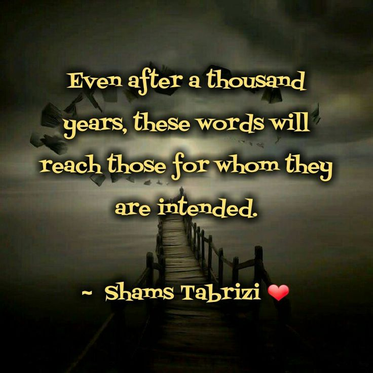 Even after a thousand years, these words will reach those for whom they are intended - shamz tabrizi