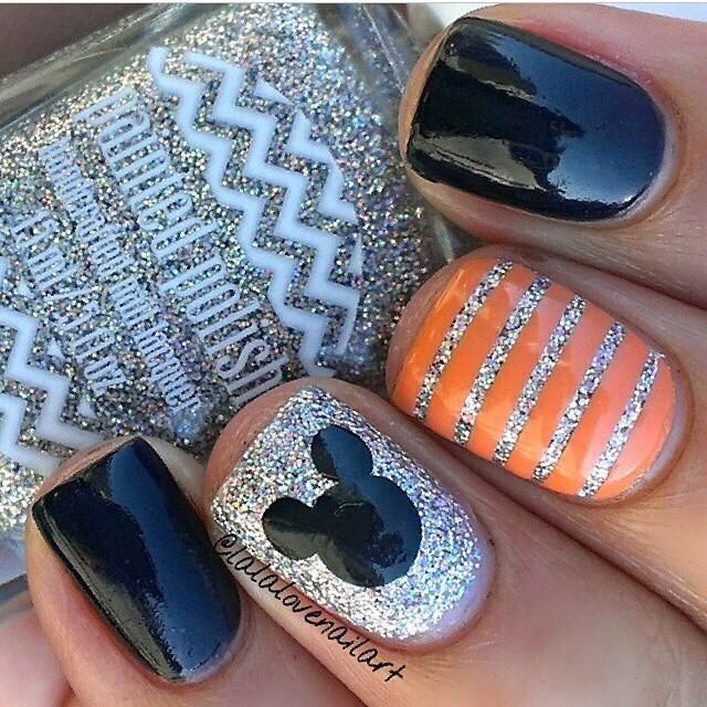 Mickey Halloween nails idea                                                                                                                                                                                 More