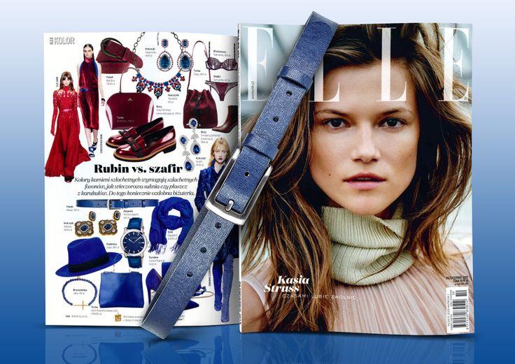 Styliści magazynu ELLE zaprezentowali m.in. dodatki w modnych kolorach rubinu i szafiru. Wśród wyróżnionych znalazł się cienki pasek Wojas w odcieniu granatu (4965/56) www.wojas.pl/produkt/20832.