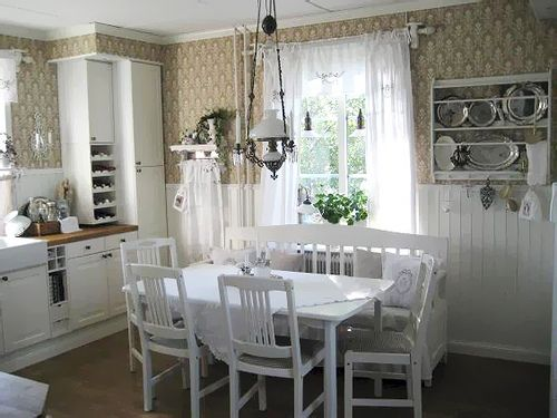 Farmhouse cottage kitchen neutrals butcher block antique light fixture vintage silver trays - Pictures of country cottage kitchens ...