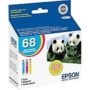 Epson Ink Cartridges, 68 (T068520), Cyan/Magenta/Yellow Multi-Pack, 3/Pk