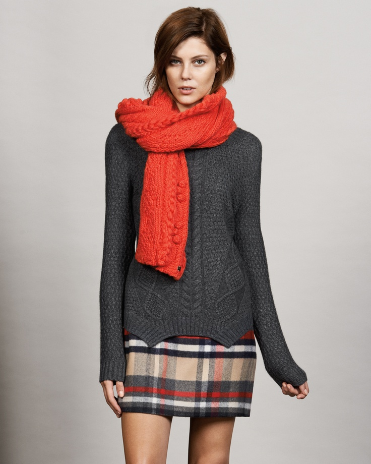 CABLE W/CURVE HEM LS KNIT $179 CHARCOAL  CHECK MELTON ALINE SKIRT $159   CABLE KNIT SCARF $69  #Marcs