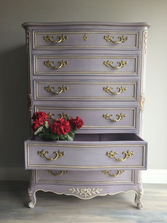 French Provincial Dresser Makeover Blue
