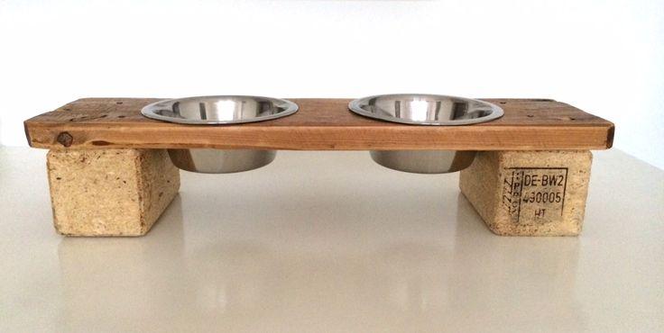 Doppia Mangiatoia per Cani o Gatti in Legno Riciclato Pallet, Porta Ciotole cani…