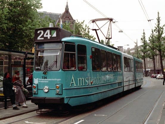 Tram 24 with the Amsterdam Water Company  Advertisement Campaign on it