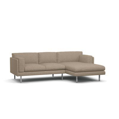 """BenchMade Modern Skinny Fat Sectional Size: 35.5"""" H x 99"""" W x 63"""" D, Body Fabric: Burlap, Leg Finish: Brushed Nickel, Sectional Orientation: Right ..."""