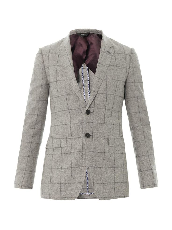 $560, Grey Check Wool Blazer: PAUL SMITH LONDON Byard Windowpane Check Blazer. Sold by MATCHESFASHION.COM. Click for more info: http://lookastic.com/men/shop_items/159107/redirect