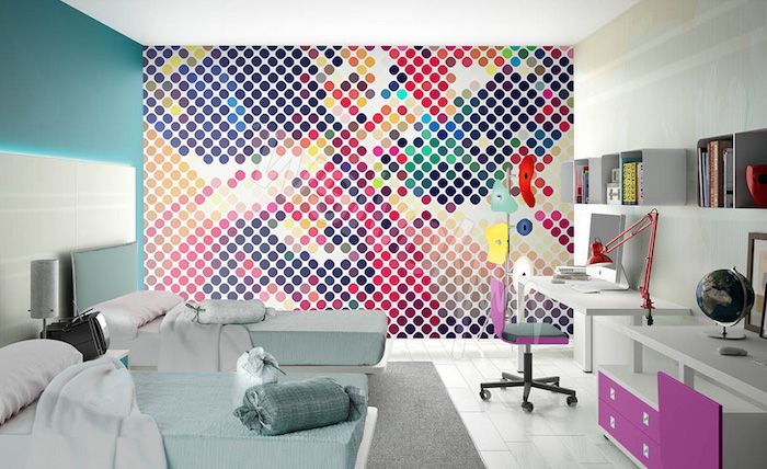 Jugendzimmer Fur Madchen Abstrakte Wanddeko Punkte Zwei Betten Blaue Wand Lila Wandgestaltung Teenager Zimmer Jugendzimmer Zimmer Einrichten Jugendzimmer