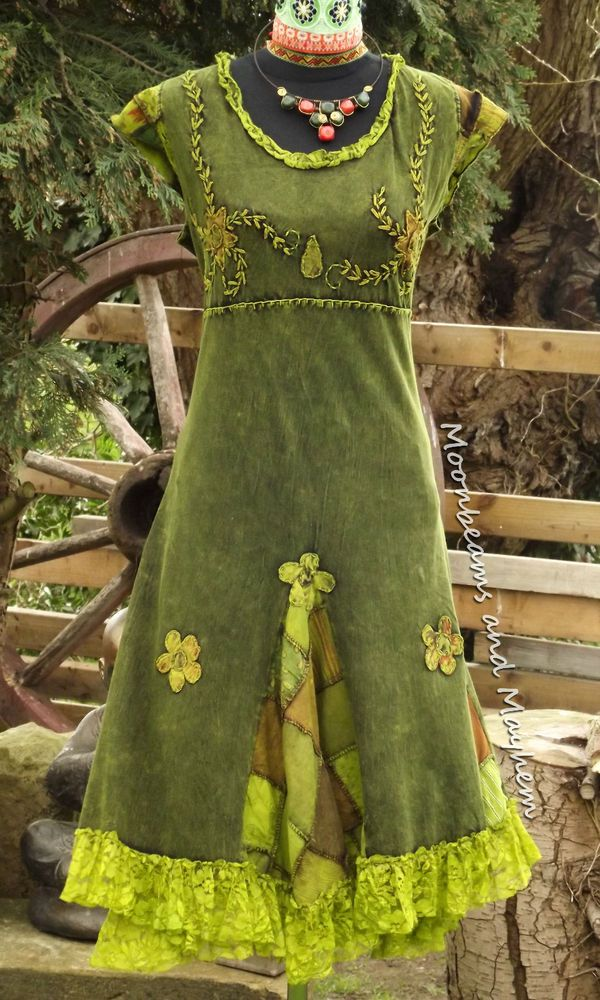 forest green new bohemian hippie dress uk 14 / 16 tie dye ...
