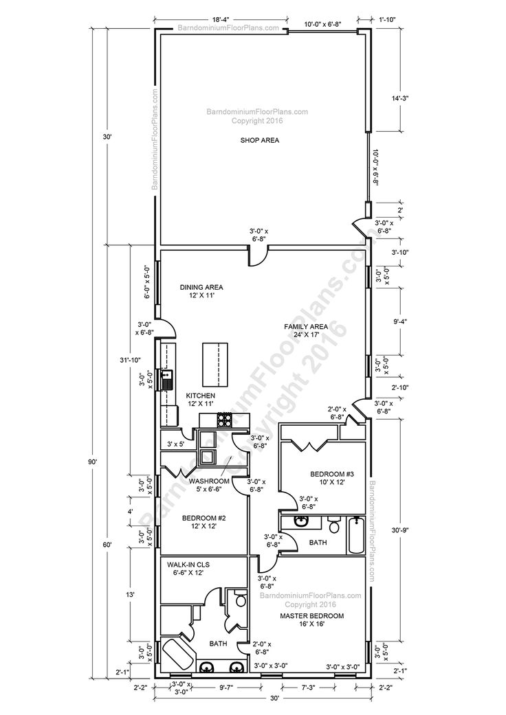 De 25 bedste id er inden for shop house plans p for Open floor plan barn homes