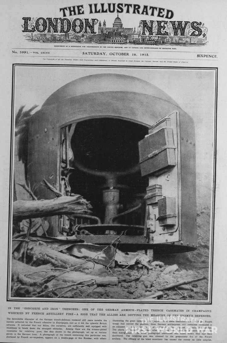 Oct, 16 1915 French guns destroyed this German Armour-Lated Trench Casemates in Champagne http://www.illustratedfirstworldwar.com/item/in-the-concrete-and-iron-trenches-one-of-the-german-armour-lated-iln0-1915-1016-0001-002/…