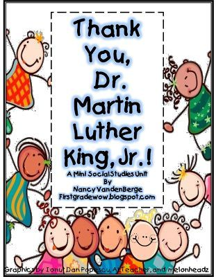 """""""Thank You, Dr. Martin Luther King. Jr"""" by First Grade Wow.  A GREAT collection of resources and activities to use this MLK day.  Many FREEBIES available.  Go to:  http://firstgradewow.blogspot.com/2012/12/not-by-color-of-our-skin.html"""