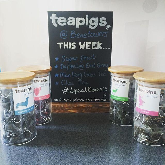 This setup at #Benetowers makes me so happy.... @teapigs tea  #lifeatbenefit #instagood