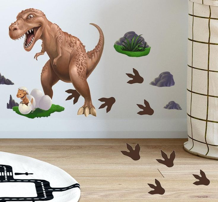 Kids Wall Clock Childrens Stocking with name Quiet Silent T-Rex