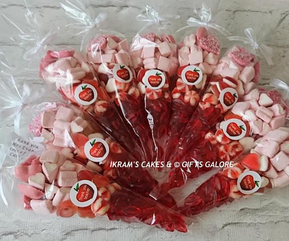 10 Pink & Red Large Sweet Cones Christmas Bridal Party