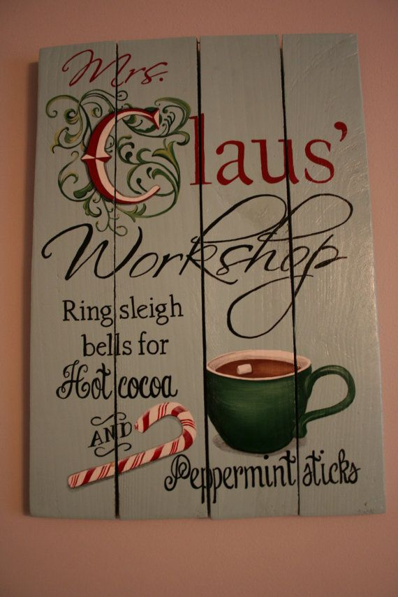 Mrs Claus Workshop;dimensions 14 X 20;reclaimed pallet wood; hang inside or outside; only $62 at http://etsy.com/shop/1105designsnc