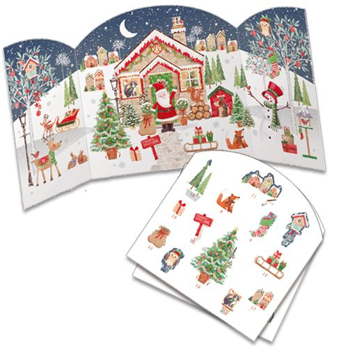 ADV34 Santa's House Advent Calendar by Phoenix Trading. Pop out a character each day to build up the picture and can be reused. Only £7.50 and can be ordered at www.nichola.cards