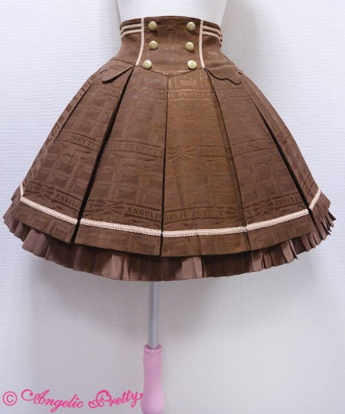 Lolibrary | Angelic Pretty - Skirt - Melty Ribbon Chocolate Skirt