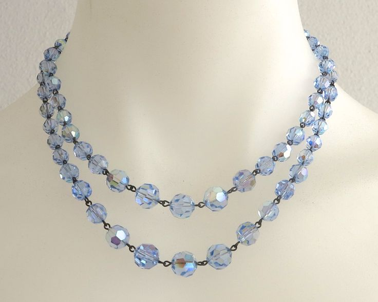 Blue faceted crystal beads necklace, double strand in graduated sizes, metal links, shepherd's hook closure, circa 1950s by CardCurios on Etsy