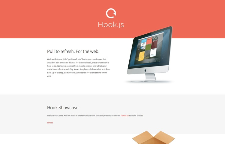 """Hook.js is """"pull to refresh"""" for websites"""