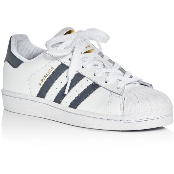 Adidas Women's Superstar Lace Up Sneakers (1.225 ARS) ❤ liked on Polyvore featuring shoes, sneakers, grey sneakers, white leather sneakers, white sneakers, gray shoes and white shoes