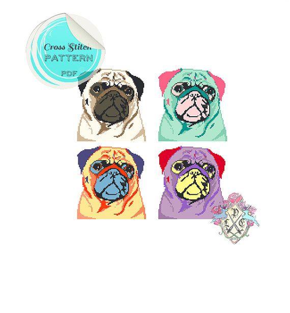 Pop Art Pugs Cross Stitch Pattern. by plasticlittlecovers on Etsy, £3.00