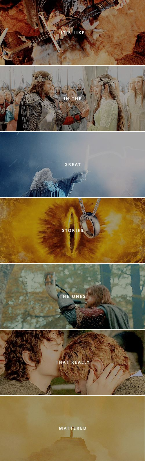 Those were the stories that stayed with you, that meant something, even if you were too small to understand why. #lotr #TheLordoftheRings