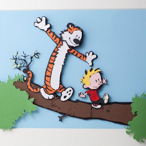 Calvin und Hobbes 3D papercut von Kamikiri auf Etsy