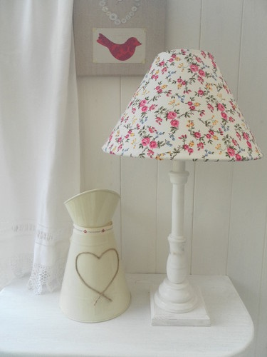 Shabby chic French table lamp with a floral lampshade | eBay UK