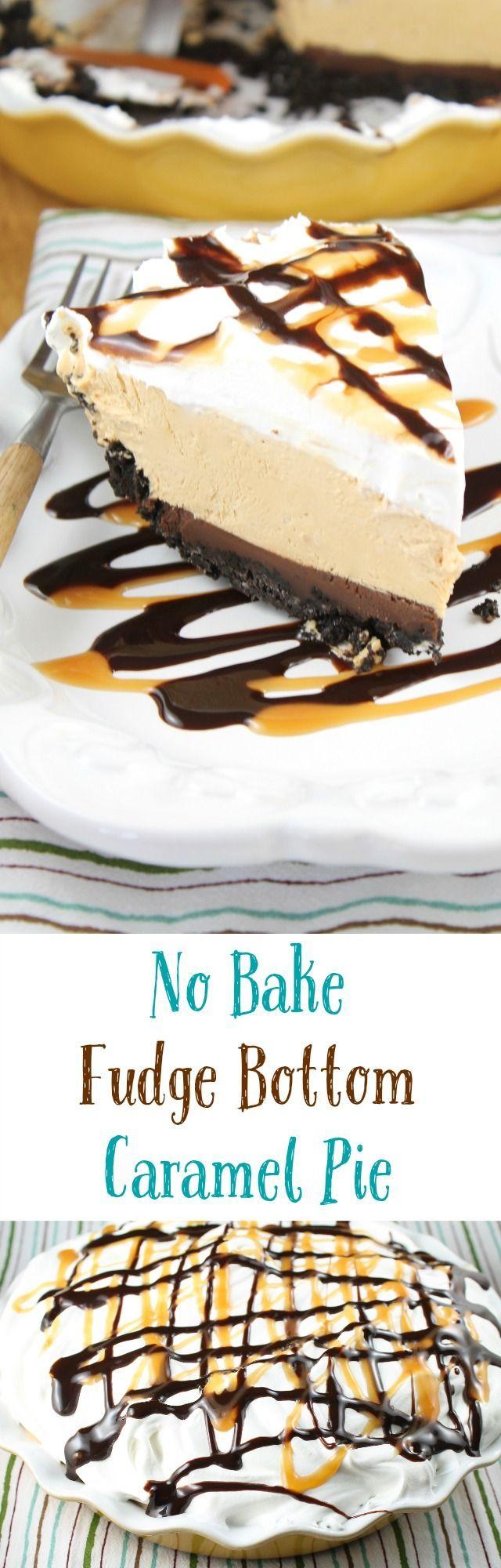 No Bake Fudge Bottom Caramel Pie Recipe found at missinthekitchen.com #WayfairPieBakeOff