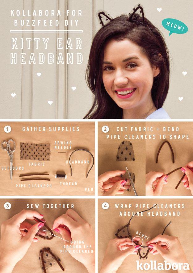 Kitty Ear Headband | 10 DIY Headbands To Tame (And Frame) Your Hair