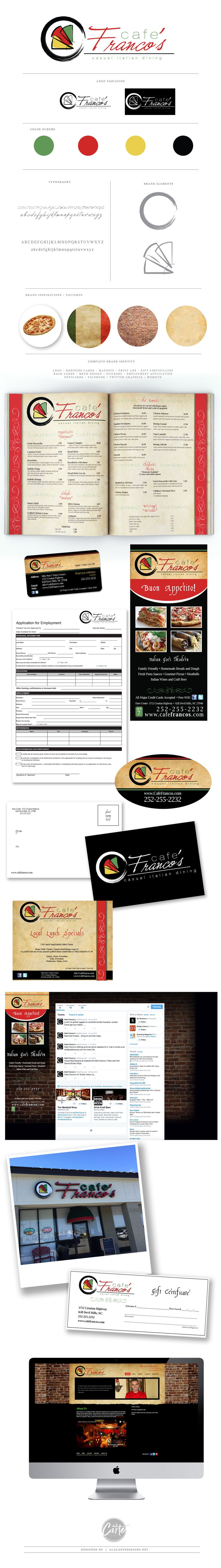 Full branding created for Cafe Franco's located in the Outer Banks of NC Logo + Business Cards + Magnets + Print Ads + Gift Certificates + Rack Cards + Menu Design + Stickers + Employment Application + Postcards + Facebook / Twitter Graphics + Website       by www.alacartedesigns.net