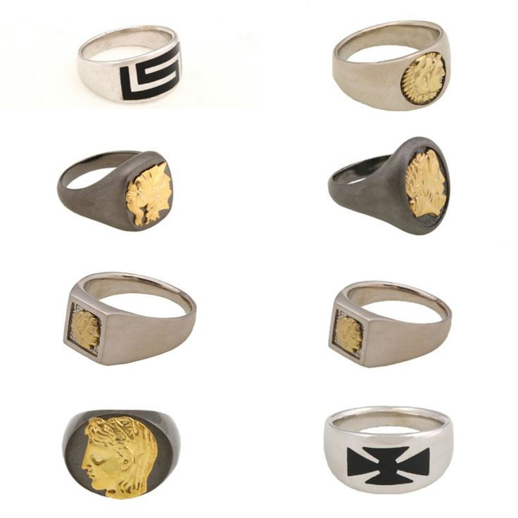 New men's ring collection by designer Christos Rallias with sterling silver 925o, gold 14K, platinum and enamel. Philip of Macedonia, Athena goddess, Alexander the Great, greek meander, cross