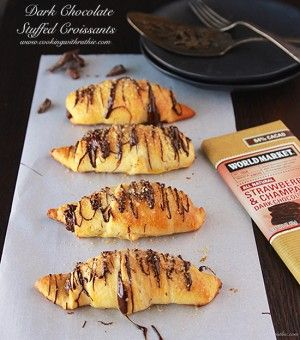 Dark Chocolate Croissants are a beautiful brunch or dessert! www.cookingwithruthie.com