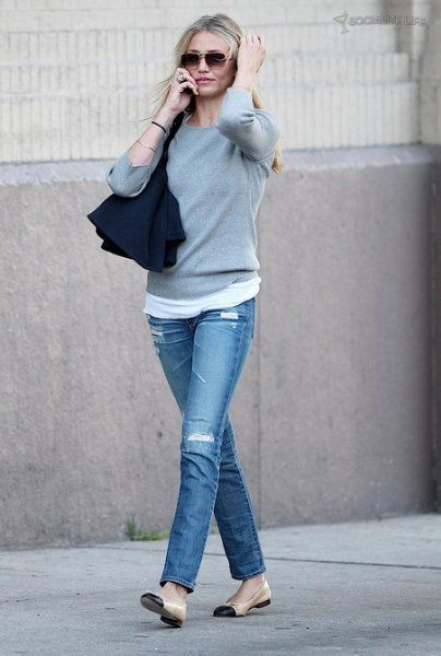 Channel ballet flat paired with a gray sweater or sweatshirt and designer jeans for a chic Saturday look