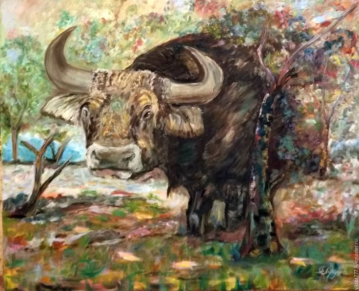Купить Телец. - коричневый, буйвол, лес, подарок на любой случай, голубой цвет, зелень