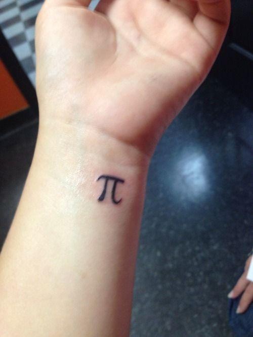 Black Ink Small Pi Tattoo On Wrist