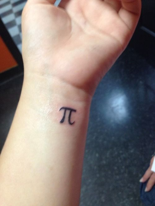 Black Ink Small Pi Tattoo On Wrist