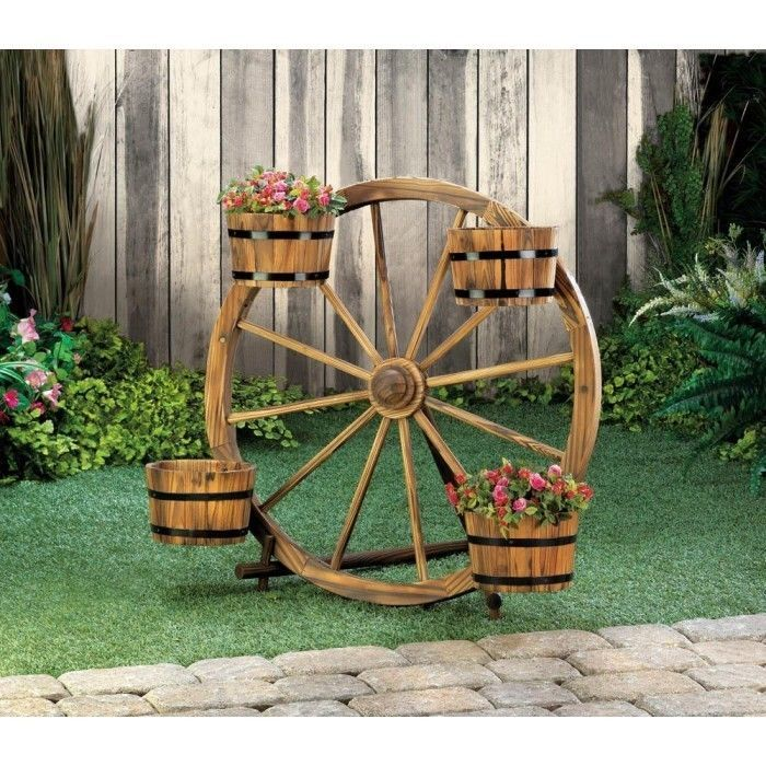BRAND NEW! WOODEN WAGON WHEEL BARREL PLANTER DISPLAY /BROWN