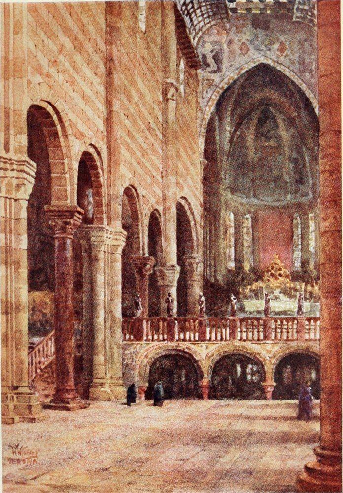 Interior of the Basilica of S. Zeno, Verona. Watercolour by William Wiehe Collins (1862-1951)